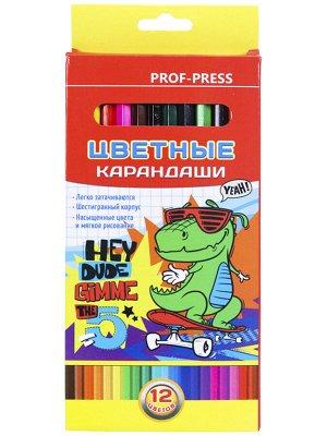 Карандаши цветные,набор,гексаг.12цв. Мультики (гриф.d=2,8 мм)  КЦ-8387