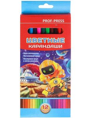 Карандаши цветные,набор,гексаг.12цв.Трансформеры (гриф.d=2,8мм) КЦ-8384