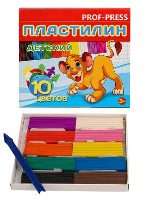 Пластилин 10 цв. 150г. к/к, стек ПЛ-3635