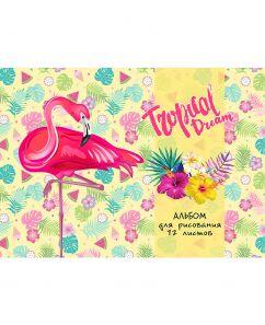 """Альбом для рисования А4 12л. TM""""Profit Фламинго с цветами-1 скр,обл.-офс.,12-5334"""