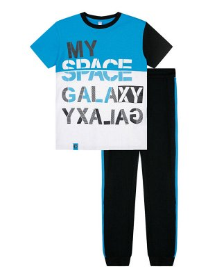 Комплект Состав: 95% хлопок, 5% эластан  Цвет: черный, белый, синий  Год: 2021 *Комплект: футболка, брюки *из качественного эластичного и приятного на ощупь трикотажа джерси *высокое содержание хло