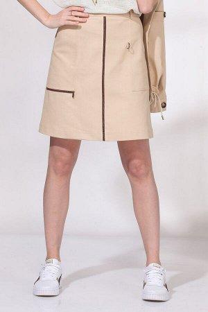 Юбка мини Рост: 164 см. Состав ткани: хлопок 65%, вискоза 30%, эластан 5% Элегантная юбка А-силуэта из джинсовой ткани. На притачного поясе со шлевками, с застежкой на молнию сзади. Спереди накладные