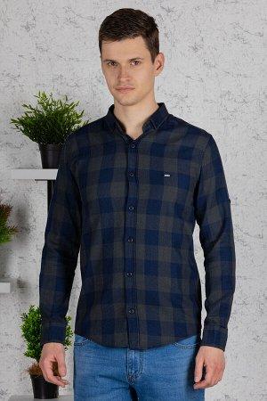 Рубашка Модель: A1-модель. Цвет: хаки. Комплектация: рубашка. Состав: хлопок-100%. Бренд: Tricko. Фактура: клетка. Посадка: casual.