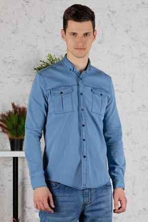 Рубашка Модель: A1-модель. Цвет: джинс. Комплектация: рубашка. Состав: хлопок-70%,полиэстер-27%, эластан-3%. Бренд: Tricko. Фактура: однотонная. Посадка: casual.