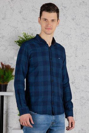 Рубашка Модель: A1-модель. Цвет: синий. Комплектация: рубашка. Состав: хлопок-100%. Бренд: Tricko. Фактура: клетка. Посадка: casual.