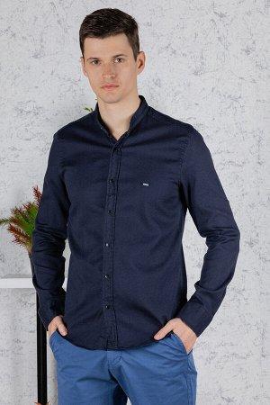 Рубашка Модель: A2-модель. Цвет: синий тёмный. Комплектация: рубашка. Состав: хлопок-97%, эластан-3%. Бренд: Tricko. Фактура: меланж. Посадка: casual.