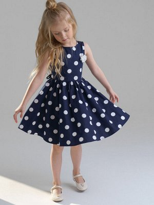Платье Состав: 100% хлопок Цвет: тёмно-синий, белый  *Платье с открытой линией плеч из сатина *100% хлопок *утяжка поясом *цветок из шифона