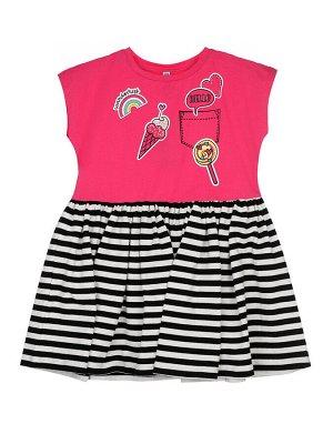 Платье Состав: 95% хлопок, 5% эластан Цвет: розовый, черный, белый  *Платье трикотажное *высокое содержание хлопка 95% *благодаря наличию эластана в составе ткани изделие проще в уходе и держит фор