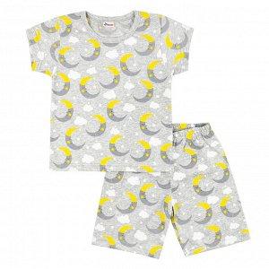 Пижама ЦВЕТ: серый меланж,  Замеры модели* * рост указан приблизительно, ориентируйтесь на замеры *Размер 56 (рост 86-92 см) футболка: длина 37 см, полуобхват груди 26 см, шорты: длина 30 см, полуобх