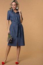 Платье-рубашка из тонкой джинсы горошки (П-274-2)