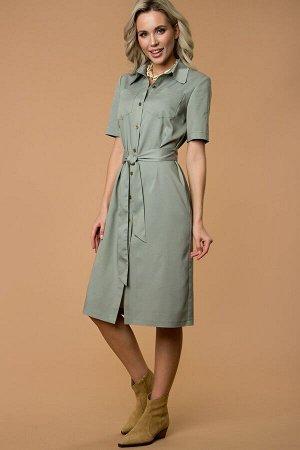 Платье-рубашка из тонкой джинсы  оливковый (П-274-1)