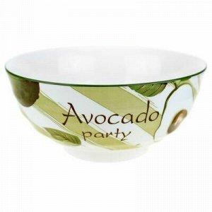 """""""Авокадо"""" Салатник фарфоровый 1,6л, д20,3х9,4см, с деколью."""