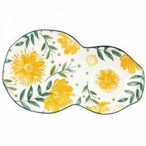 """""""Желтые цветы"""" Блюдце фарфоровое 29,2х17,7см h2,2см, двойное"""