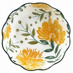 """""""Желтые цветы"""" Салатник фарфоровый 570мл, д15,6х5,5см, фигур"""
