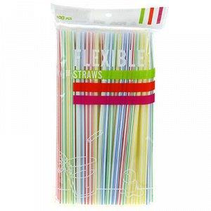 Трубочки для коктейлей 20,5см, полоски цветные, 100 штук в б
