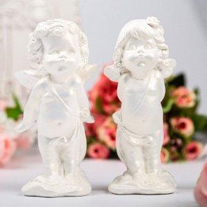 "Статуэтка ""Пара ангелов поцелуи"" малая, белая"