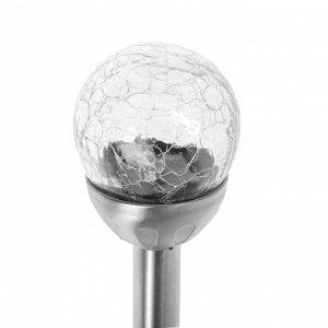 Фонарь садовый на солнечной батарее Smartbuy, 37 см, 1 led, нержавеющая сталь, стекло