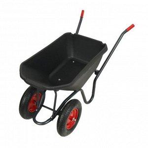 Тачка садово-строительная, двухколёсная: груз/п 150 кг, объём 110 л, пневмоколесо, корыто из пластика, чёрная