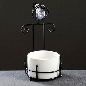 Кашпо с освещением, на черн подставке 22*11*10см