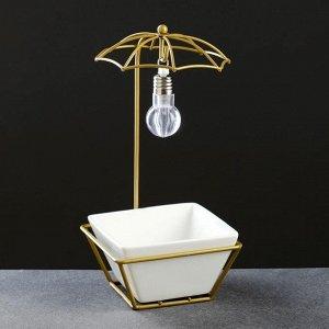 Кашпо с освещением, на золот подставке 22*10*10см