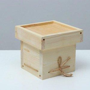 Кашпо подарочное 11?11?11 см деревянное, с крышкой