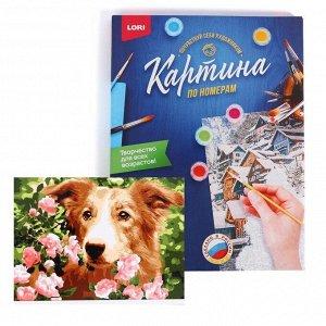 Роспись Набор для творчества раскраска по номерам «Собака в цветах»