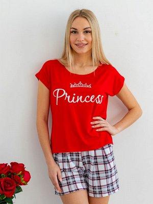 Комплект женский из футболки и шорт из кулирки Принцесса белая клетка, красный