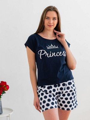 Комплект женский из футболки и шорт из кулирки Принцесса горох, темно-синий