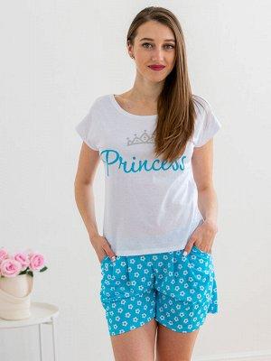 Комплект женский из футболки и шорт из кулирки Принцесса цветы, белый