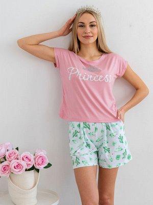 Комплект женский из футболки и шорт из кулирки Принцесса кактусы, розовый