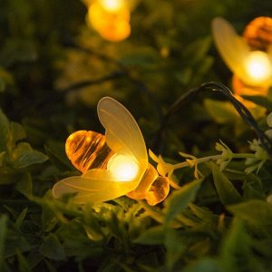 """Гирлянда """"Нить"""" 4.5 м с насадками """"Пчёлки"""", IP44, тёмная нить, 30 LED, свечение тёплое белое, 2 режима, солнечная батарея"""