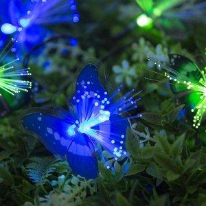 """Гирлянда """"Нить"""", уличная на солнечной батарее с насадками """"Бабочка"""", 4,5 м, Н.Т. LED-30, нить тёмная, свечение мульти (RG/RB)"""