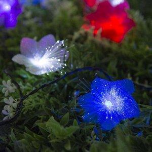 """Гирлянда """"Нить"""", уличная на солнечной батарее с насадками """"Цветок"""", 4,5 м, Н.Т. LED-30, нить тёмная, свечение мульти (RG/RB)"""