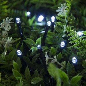 """Гирлянда """"Нить"""" 10 м, тёмная нить, 100 LED, свечение белое, 2 режима, солнечная батарея"""