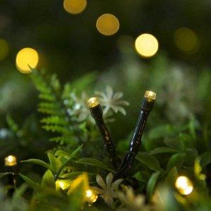 """Гирлянда """"Нить"""" 10 м, тёмная нить, 100 LED, свечение тёплое белое, 2 режима, солнечная батарея"""