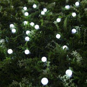 """Гирлянда """"Нить"""", уличная на солнечной батарее с насадками """"Шарик"""", 4,5 м, Н.Т. LED-30, 2 режима, нить тёмная, свечение белое"""