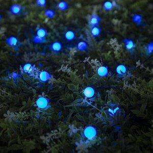 """Гирлянда """"Нить"""" 4.5 м с насадками """"Шарики"""", IP44, тёмная нить, 30 LED, свечение синее, 2 режима, солнечная батарея"""