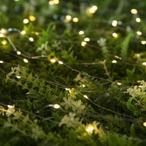 """Гирлянда """"Нить"""" 20 м роса, серебристая нить, 200 LED, свечение тёплое белое, 2 режима, солнечная батарея"""