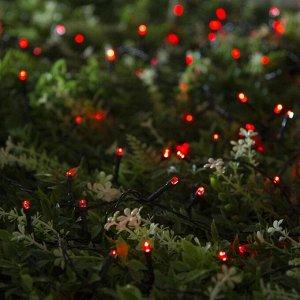 """Гирлянда """"Нить"""" 20 м, тёмная нить, 200 LED, свечение красное, 2 режима, солнечная батарея"""