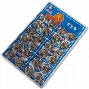 Кнопки пришивные на листах 14 мм, цвет никель (24 шт)