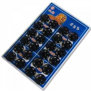 Кнопки пришивные на листах 16 мм, цвет черный (24 шт)