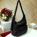Cумка-рюкзак оверсайз Atea формата А4 из матовой мягкой эко-кожи чёрного цвета