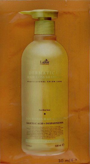 Укрепляющий шампунь(пробник 10 мл) для тонких волос Lador Dermatical Hair-Loss Shampoo For Thin Hair