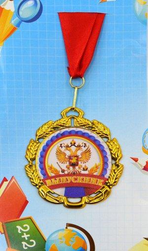 """Металлическая медаль на ленте """"Выпускник"""""""