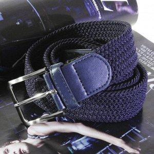 Батал. Текстильный плетеный ремень-резинка унисекс темно-синего цвета. Длина 120 см