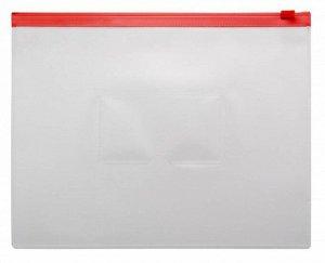 Папка на молнии ZIP Бюрократ -BPM5ARED A5 0.15мм карм.для визит. цвет молнии красный КРАТНО 12