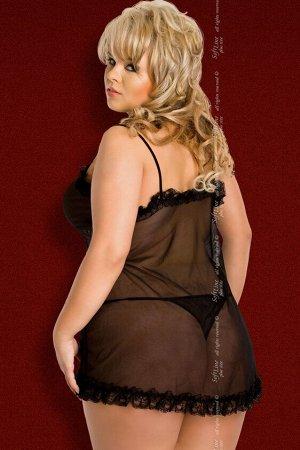Ночная сорочка и стринги SoftLine Collection Kaya, черный, XL