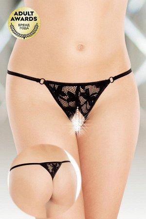 Стринги с ниткой из бусин SoftLine Collection, черный, XL
