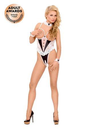 Костюм официантки SoftLine Collection Nicole (боди, галстук и манжеты), чёрный, M/L