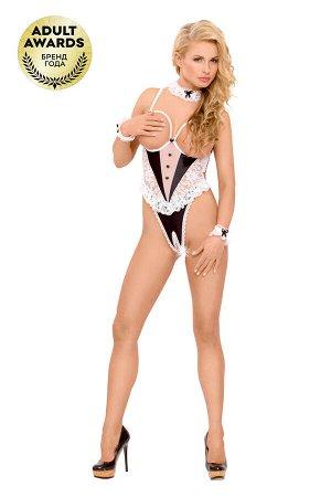 Костюм официантки SoftLine Collection Nicole (боди, галстук и манжеты), чёрный, S/M
